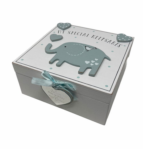 Personalised Petit Cheri 3D Blue Elephant Baby Keepsake Box