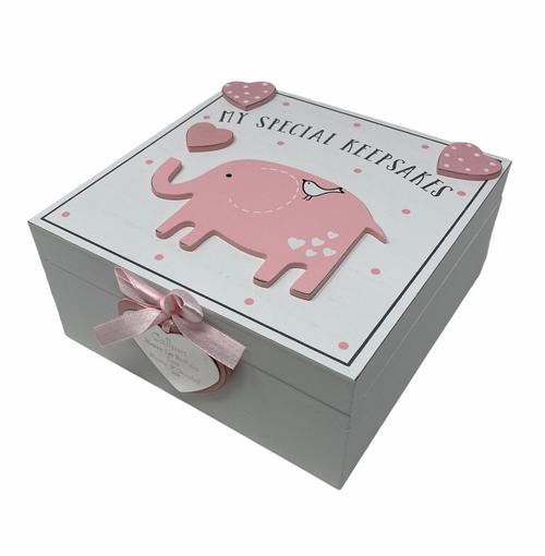 Personalised Petit Cheri 3D Pink Elephant Baby Girl Keepsake Box