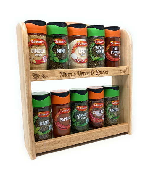 Personalised Wooden Spice Rack Holder (Includes 10 Jars)