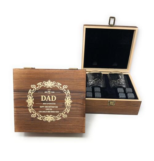 Personalised Whisky Stones & 2 Tumbler Glasses Gift Set - Birthday Design (Best Seller)