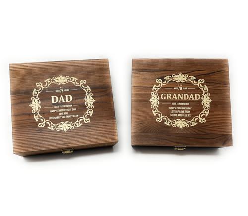 Personalised Whisky Stones &  Tumbler Glass Gift Set - Birthday Design (Best Seller)