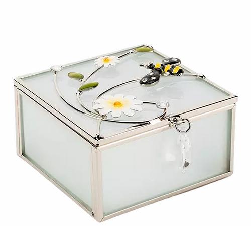 Personalised Glass & Wire Bee Design Jewellery/Trinket box