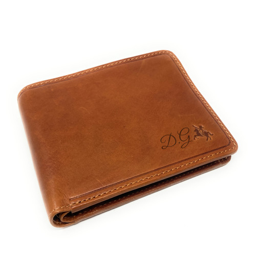 Personalised Luxury RFID Oak Tan Finish Leather Wallet - Engraved with Name / Initials - Unique Men's Gift, Fathers Day, Birthday, Custom Engraved (Best Seller)