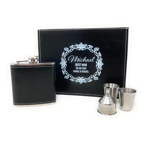 Personalised Black Pu Leather Hip Flask Gift Set/Mens Jewellery Storage box