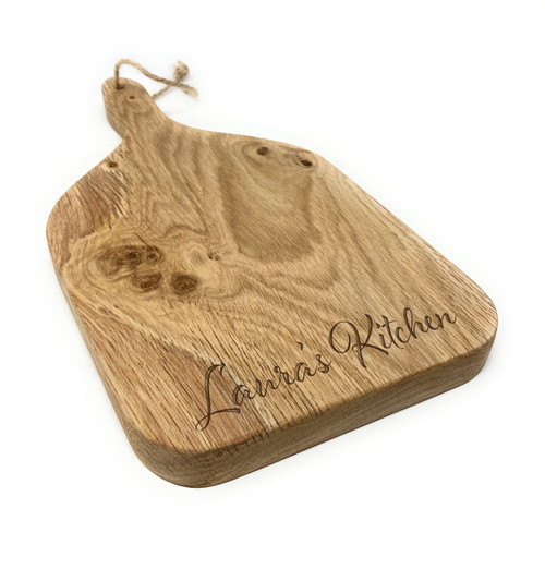 Personalised Small Hanging Scottish Oak Paddle Serving Cheese Board