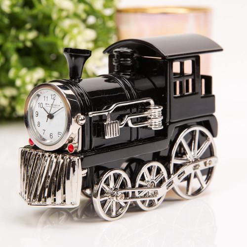Black Steam Train Engine Miniature Clock - Birthday Collectable Anniversary Novelty Train Gift
