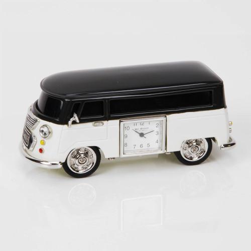 Black & Cream Camper Van Miniature Clock - Birthday Collectable Anniversary Novelty Gift