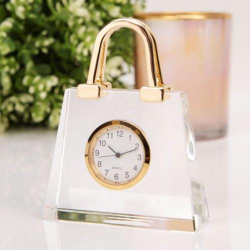 Handbag glass Miniature Clock - Birthday Collectable Anniversary Novelty Gift