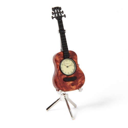 Wood Effect Guitar Miniature Clock - Birthday Collectable Anniversary Novelty Musician Gift