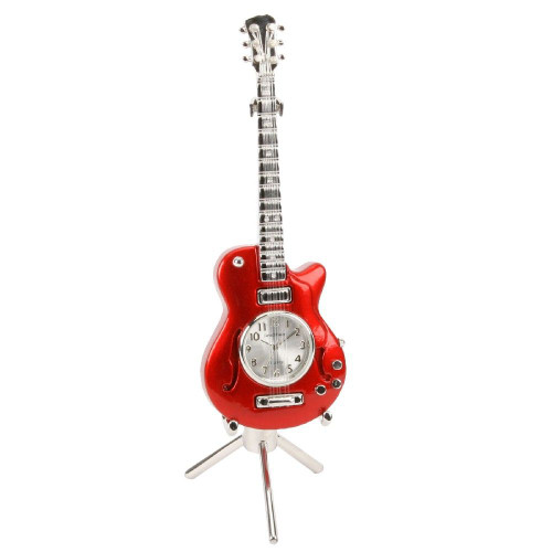 Red Guitar Miniature Clock & Stand - Birthday Collectable Anniversary Novelty Musician Gift