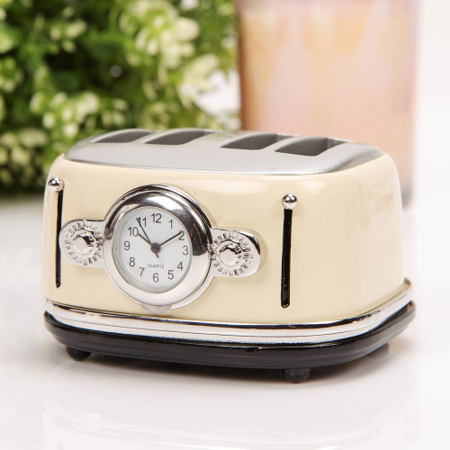 4 Slice Cream Toaster Miniature Clock - Birthday Collectable Anniversary Novelty Gift