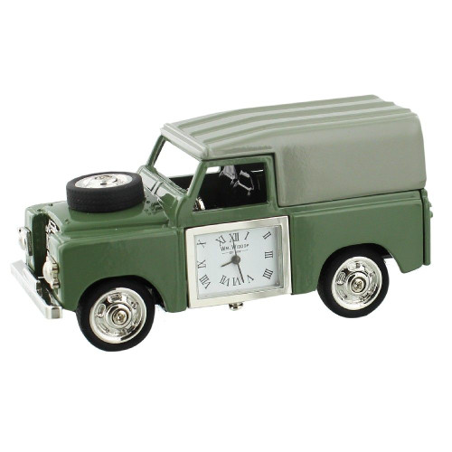 4 Wheel Drive Green Jeep Miniature Clock - Birthday Collectable Anniversary Novelty Gift