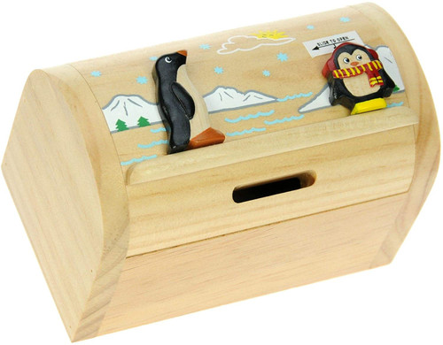 Personalised Childrens Wooden Money Box - Penguin Design