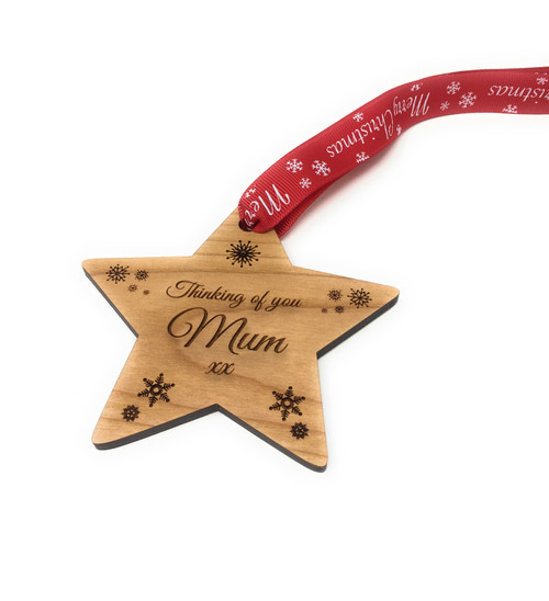 """Thinking Of Mum"" Wooden Christmas Memorial Star Tree Decoration"