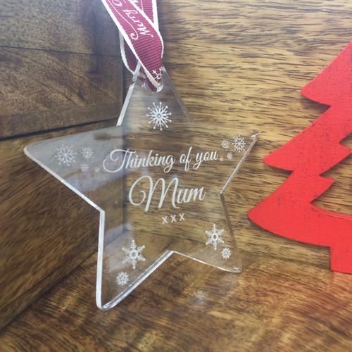 """Thinking Of Mum"" Perspex Christmas Memorial Star Tree Decoration"