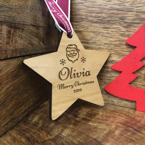 Personalised Childrens Santa Claus Christmas Wood Tree Decoration