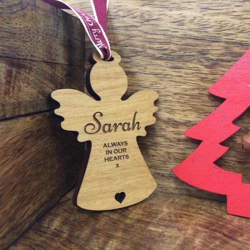 Personalised Wooden Christmas Tree  Handmade Angel Memorial Decoration Bauble