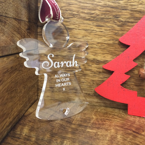 Personalised Acrylic Christmas Tree  Handmade Angel Memorial Decoration Bauble