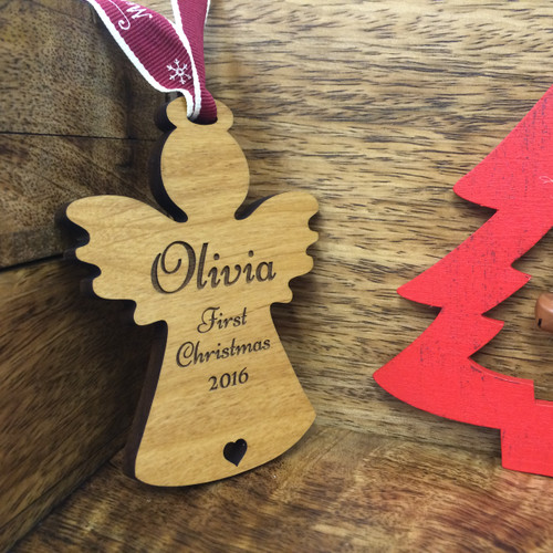 Personalised Baby's First Christmas Wooden Star Tree Decoration
