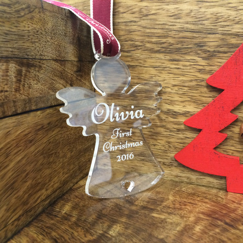 Personalised Baby's First Christmas Acrylic  Star Tree Decoration