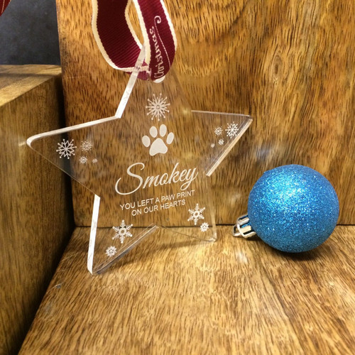 Personalised Acrylic Pet Memorial Christmas Tree Decoration - Any Name Engraved
