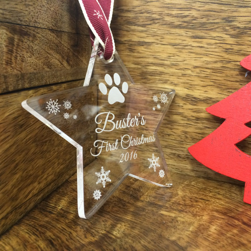 Personalised Pet's First Christmas Star Tree Decoration