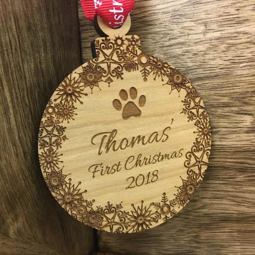 Personalised Pet's First Christmas Wooden Bauble Tree Decoration