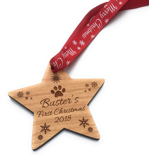 Personalised Pet's First Christmas Wooden Star Tree Decoration