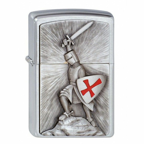 Personalised Crusade Victory Brushed Chrome Genuine Zippo Lighter