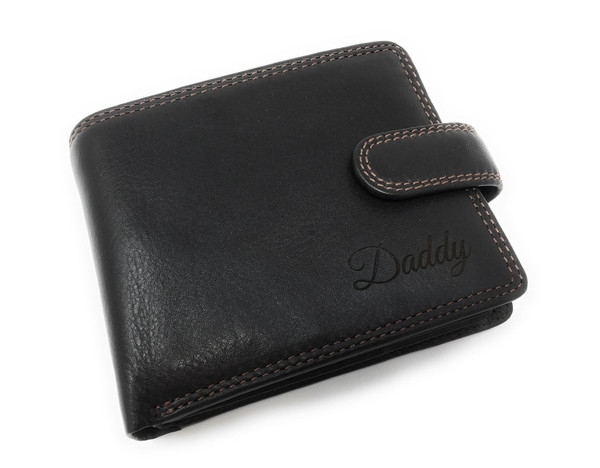 Engraved leather mens wallet customised