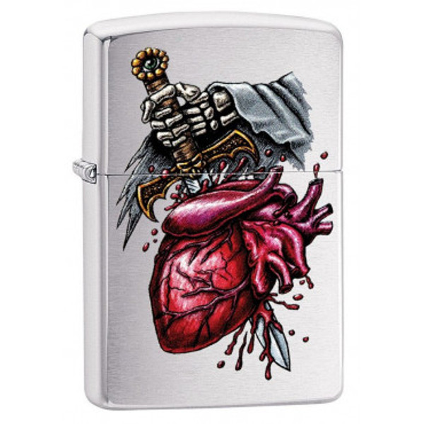 Personalised Goth Style Brushed Chrome Genuine Zippo Lighter