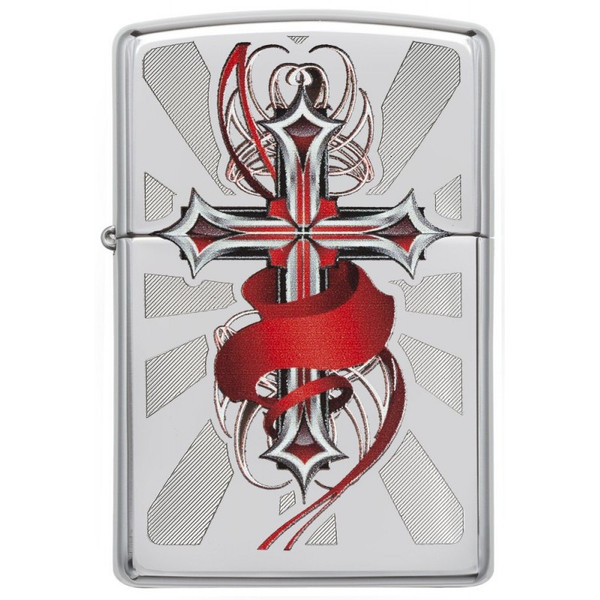 Personalised Cross With Wings Polished Chrome Genuine Zippo Lighter