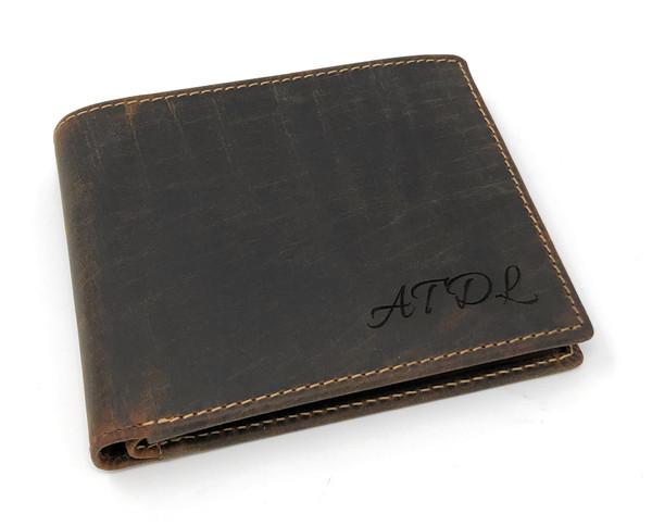 Personalised RFID Genuine Oiled Tanned Brown Leather Wallet (Best Seller)