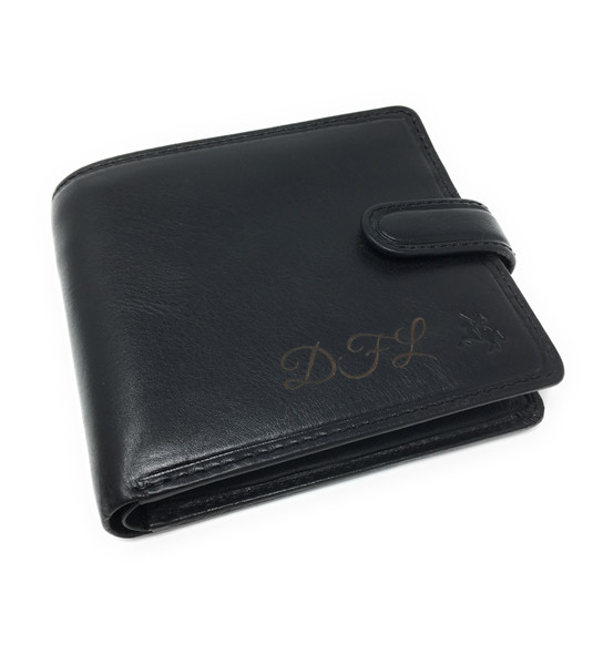 Personalised RFID Luxury Black Massa Leather Wallet
