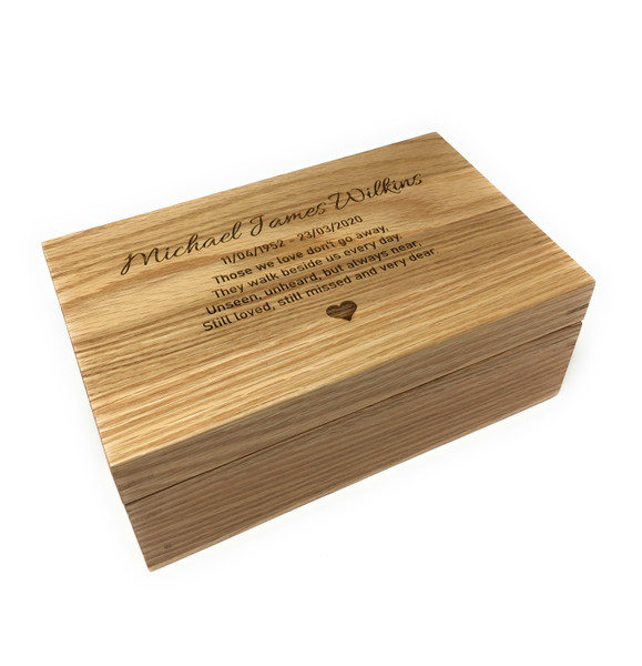 Personalised Laser Engraved Oak Wood Ashes Casket - Small