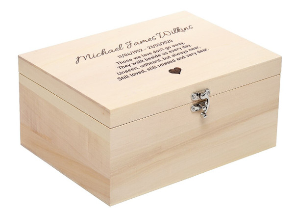 Personalised Luxury Pale Wood Ashes Casket - Larger Size
