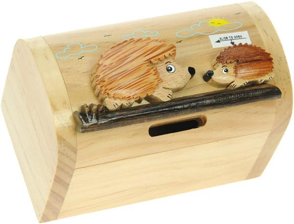 Personalised Childrens Wooden Money Box - Hedgehog Design
