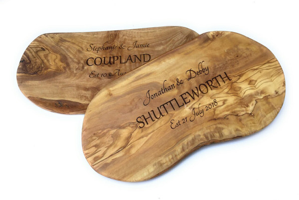 Personalised Olive Wood Large Surname Chopping  Board  - 45cm