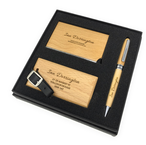 Personalised Wooden Business Card, Luggage Tag & Pen Set - Best Man,Usher Gift (Best Seller)
