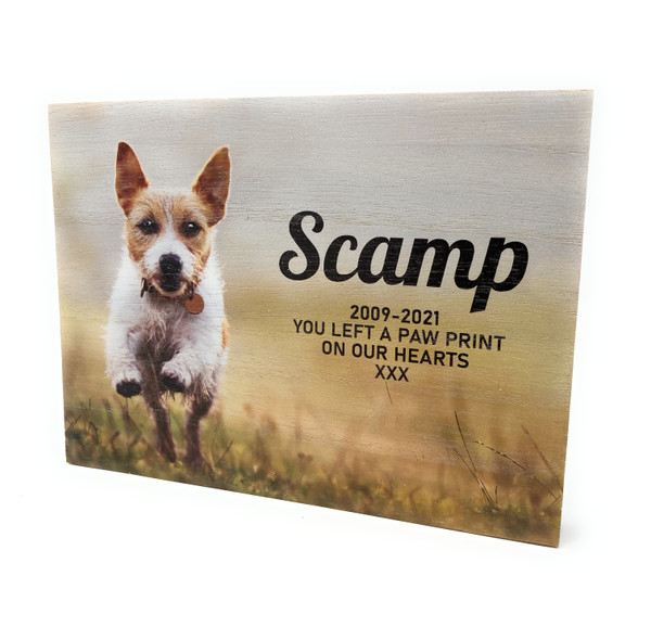Personalised Full Colour Photo Engraved Pale Wood Pet Memory Keepsake Memorial Plaque
