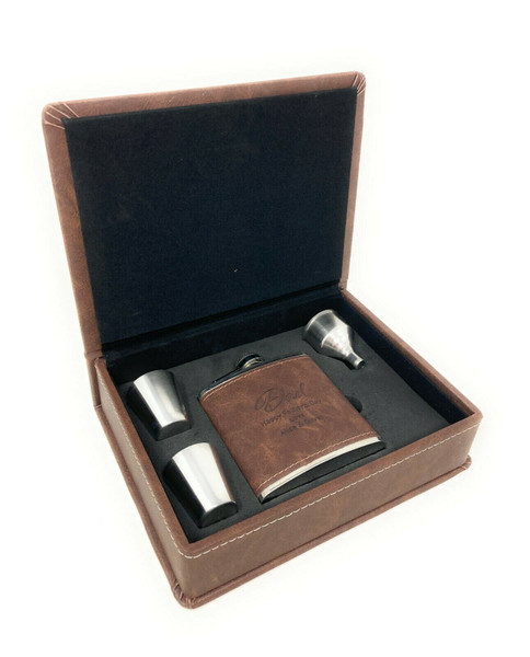 Personalised Brown Pu Leather Hip Flask Gift Set/Mens Jewellery Storage box