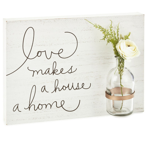 Love Makes a Home Wood Quote Sign, 13.25x9.5