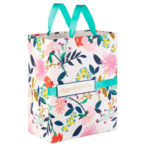 "13"" Floral Print Mother's Day Gift Bag"