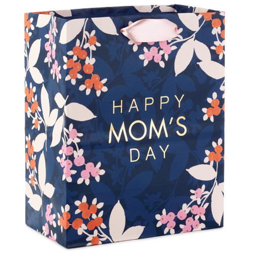 "9.6"" Navy Happy Mom's Day Gift Bag"