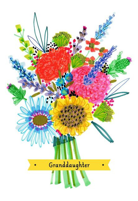 Colorful Flower Bouquet Mother's Day Card for Granddaughter