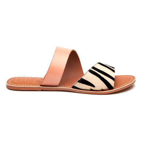 Coastal Sandal in Zebra Cowhair