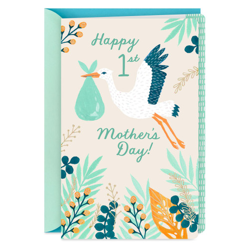 Stork With Delivery 1st Mother's Day Card