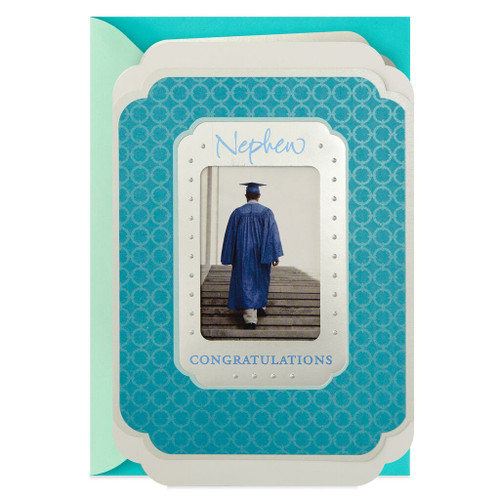 Cap and Gown Photograph Graduation Card for Nephew