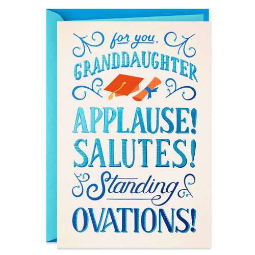 Placard Lettering Graduation Card for Granddaughter