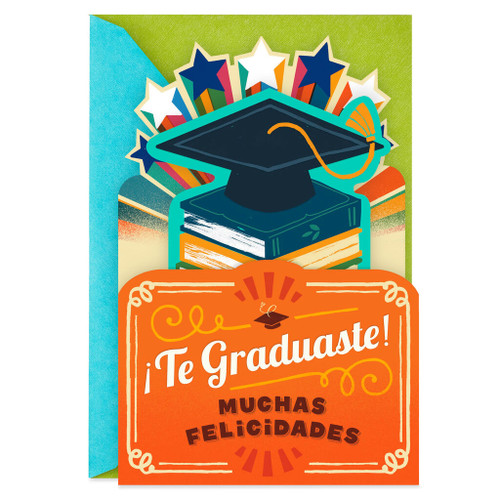 Mortarboard and Books Spanish-Language Graduation Card